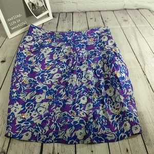 fei Anthropologie | Blue Purple Floral Skirt 12
